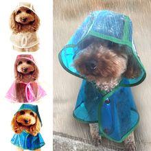 Waterdichte Regenjas Voor Honden Transparante Zachte Hond Kleding Regen Jas met Kap Voor Kleine Puppy Hond 3 Kleuren Rose Blauw wit(China (Mainland))