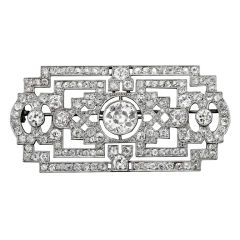 Art Deco Diamond Brooch at 1stdibs