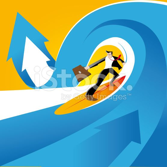 surfing on the waves of business - illustration