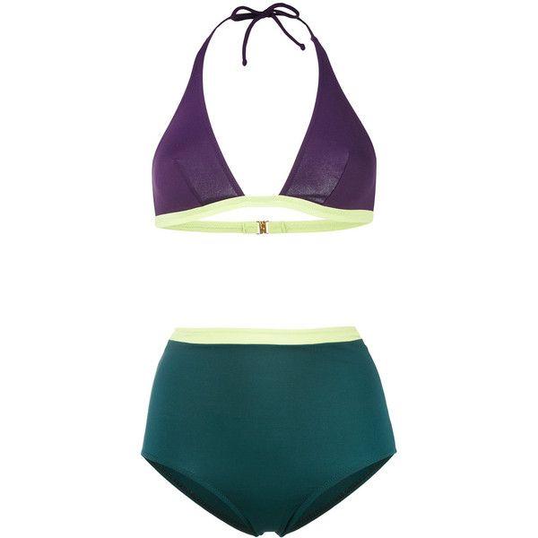 Laura Urbinati high waist bikini (373 CAD) ❤ liked on Polyvore featuring swimwear, bikinis, green, bikini beachwear, highwaist swimwear, high waisted bikini, high rise bikini and high-waisted bikinis