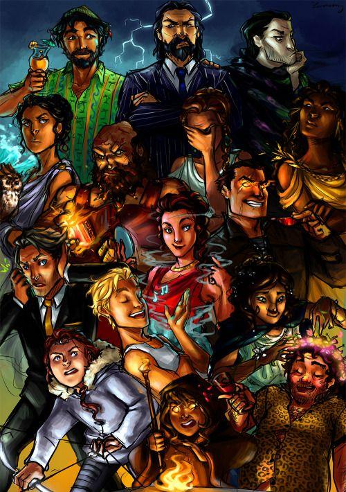 Poseidon, Zeus, Hades, Athena, Hephaestus, Hera, Demeter, Hermes, Aphrodite, Ares, Apollo, Persephone, Artemis, Hecate, Dionysus