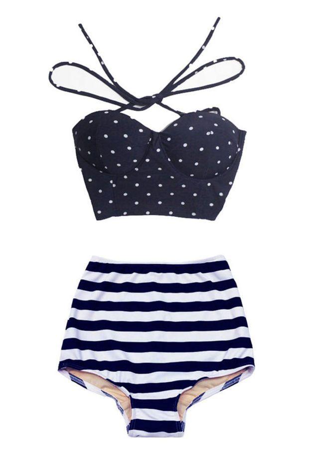 Navy Blue Polka dot Top and Navy Blue/White Stripe High Waisted High-Waist Highwaisted Swimsuit Swimwear Bikini Bathing Swim suit wear S M