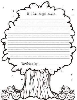 Cute writing paper for Kindergarten. Students can write about what would happen if they had magic seeds. Great for plant unit.... ekan kevääseen siementen kylvön aikaan