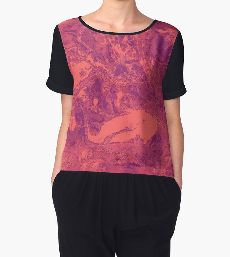 """Orange pink marble texture."" Chiffon Tops by kakapostudio | Redbubble"