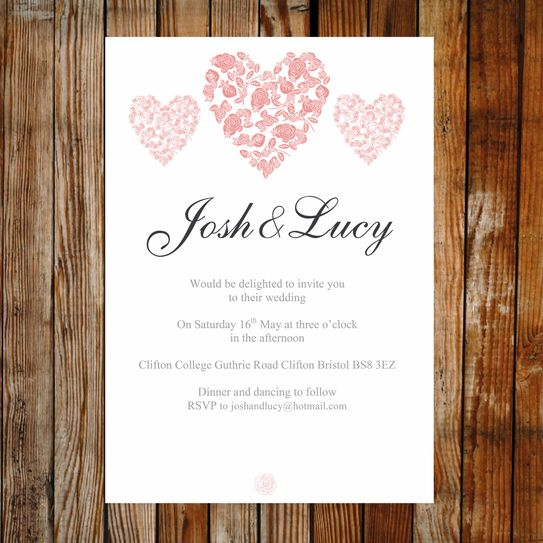 Printable Wedding Invitation   Trio Of Hearts Coral Pink. Easy To Edit And  Print,