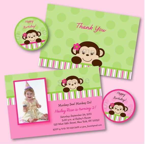 monkey printables- Riley's 1st birthday theme!!! So cute!!