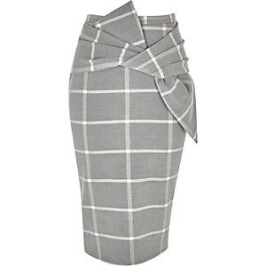 Grey wide check bow front pencil skirt