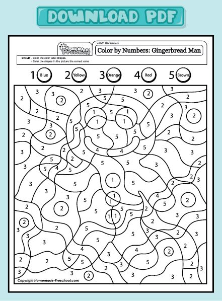 Preschool Worksheets: Do it in Spanish to practice numbers in Spanish and colors in Spanish. #Spanish for preschoolers #Printables  http://www.homemade-preschool.com/mw-color-by-numbers-gingerbread-man-1-5.html