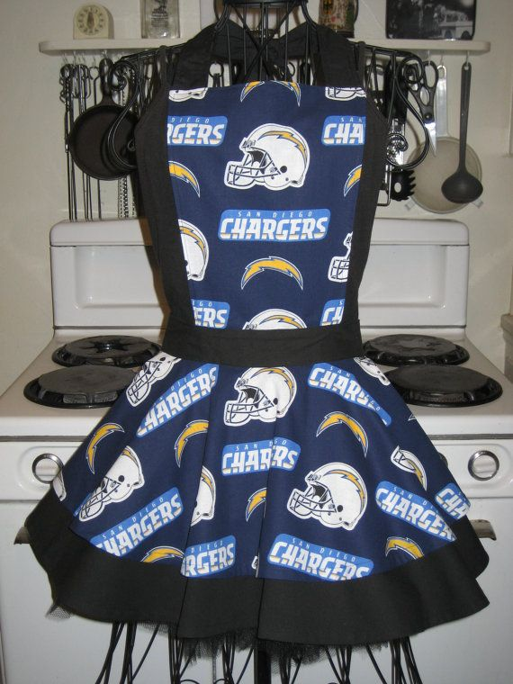 San Diego Chargers Ladies Fancy Hostess Apron...  I would love to host Football Sundays in this!!