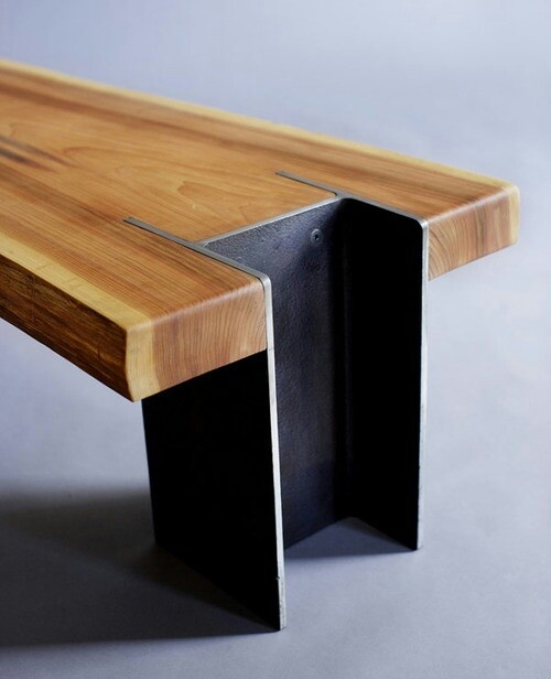 I beam cut offs + timber remnants = Coffee table
