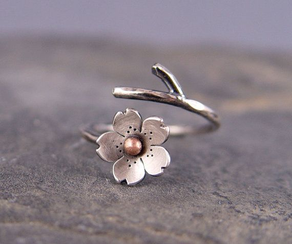Cherry Blossom Branch Adjustable Ring in Silver by HapaGirls on Wanelo---kels you need this!