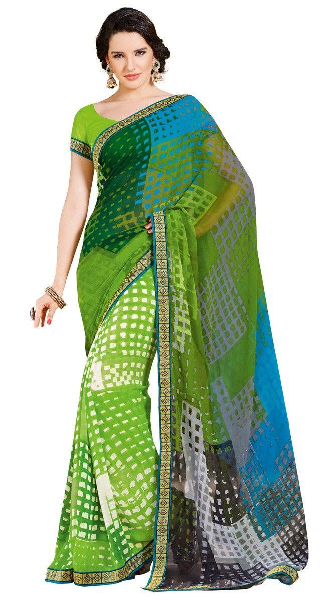 Vivacious Multi Color Georgette Printed #Saree