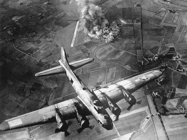 8th Air Force B-17 Bombs German Airfield