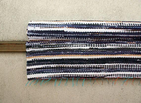 Handwoven Rag Rug  grey blue white beige 295' x 617' by dodres, $89.00