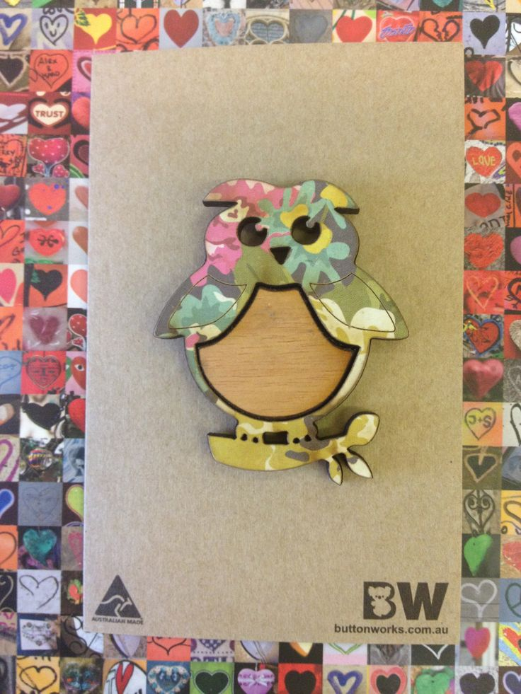 Buttonworks sweet timber owl brooch - proudly made in Australia!