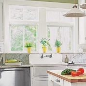 Top your backsplash with a marble ledge made of window-sill strips. 3-inch White Gray Polished Marble, about $15 for 3 feet; Marble Thresholds.com