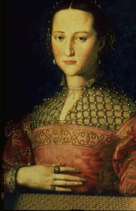 Agnolo Bronzino 1540  Portrait de la duchesse Eleonore  Galerie Narodni, Prague Note the partlet closure at the neck and embroidery.