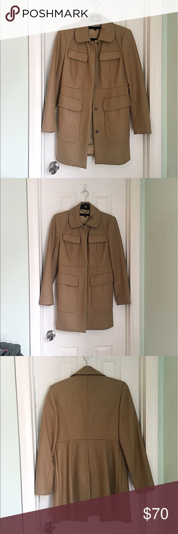 French Connection Camel Jacket Beautiful camel French connection pea coat. Only worn once. Small defect in interior liner (pictured) but the outside looks like new. 70% wool, 20% nylon, 10% cashmere French Connection Jackets & Coats Pea Coats