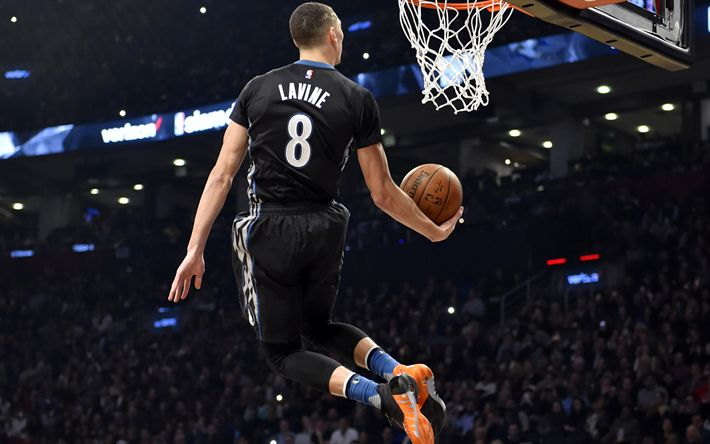 Download wallpapers Zach LaVine, NBA, basketball stars, dunk, Chicago Bulls
