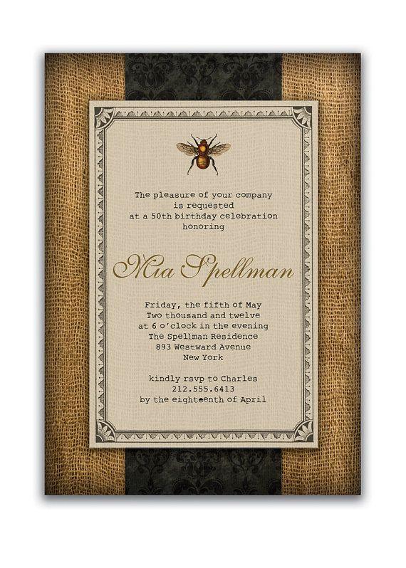 {Mia} Rustic Bee Birthday Invitation Vintage Bridal by digibuddhaPaperie, $18.00  https://www.etsy.com/listing/81120385/rustic-bee-birthday-invitation-vintage: Rustic Bees, Invitations Vintage, Bees Birthday, Bees Invitations, Birthday Invitations, Vintage Bridal, Invitations Ideas, Bridal Shower Invitations, Bee Birthday