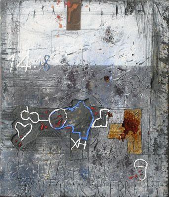 Walter Rast, Aan de krijgers van de Grande Guerre Gemengde techniek op doek, 30 x 42 cm, 2005