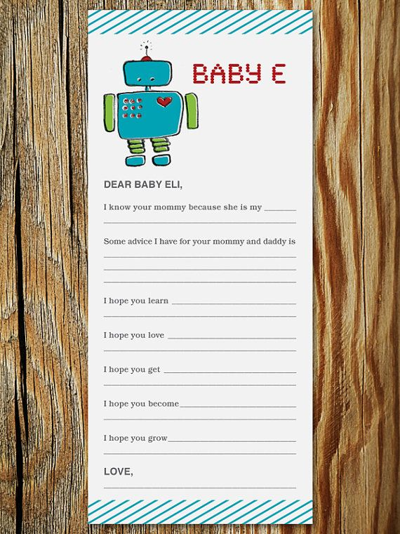 Robot Baby Shower Game - Wishes for Baby Printable