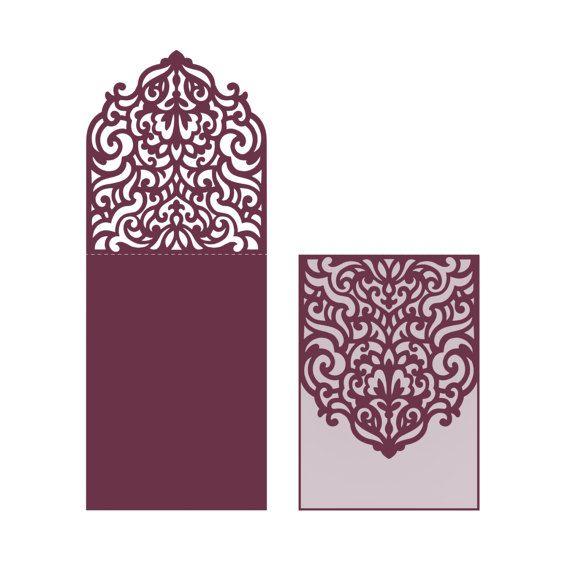 wedding invitation pocket envelope half fold card svg template quinceanera christening. Black Bedroom Furniture Sets. Home Design Ideas