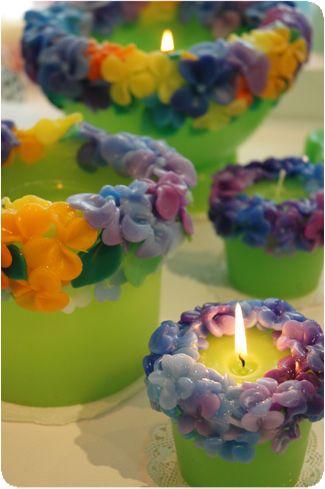 Svíčky • květinové věnečky