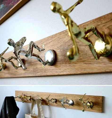 diy trophy coat rack, cute for a boys room. Have a few tractor pull trophies we could use!