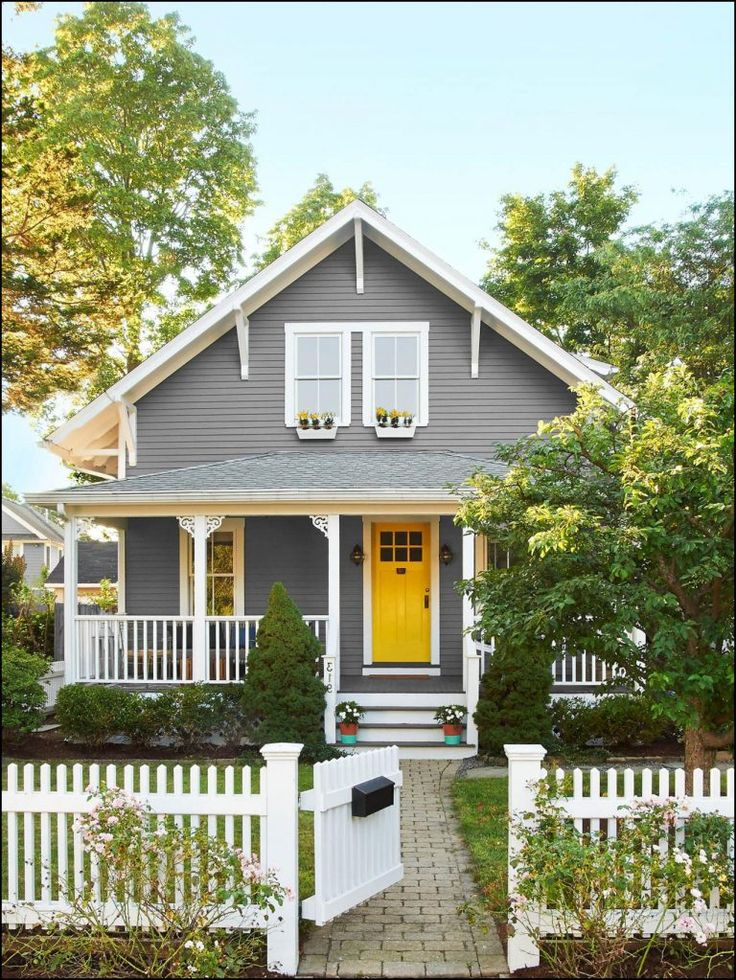 Gray house white trim yellow door exterior paint in 2019 - Gray house yellow door ...
