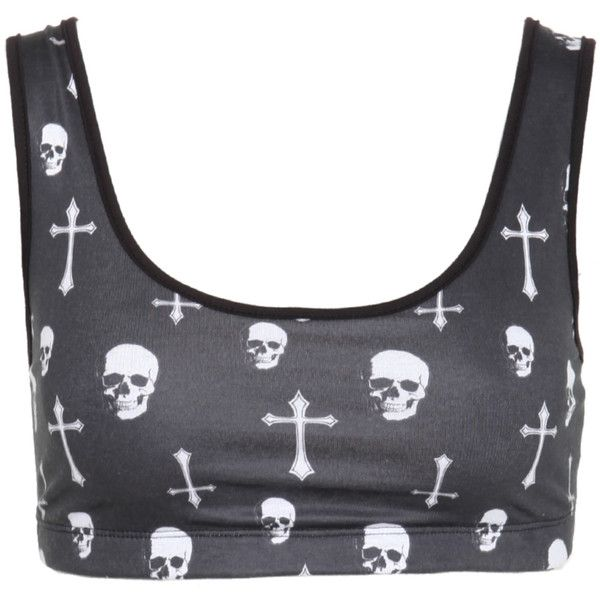 Skull Cross Sports Bra | Hot Topic (16 CAD) ❤ liked on Polyvore featuring activewear, sports bras, tops, shirts, bras, crop tops, skull print shirt, crop shirts and skull shirt