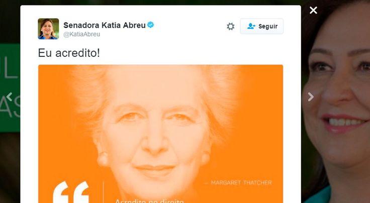 Aliada de Dilma Rousseff, Katia Abreu divulga post do Partido NOVO com frase de Tatcher
