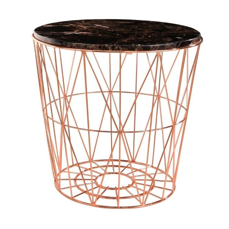 abbyson living otis marble and stainless steel end table in rose gold - qf-16-026-end-rsg #ad