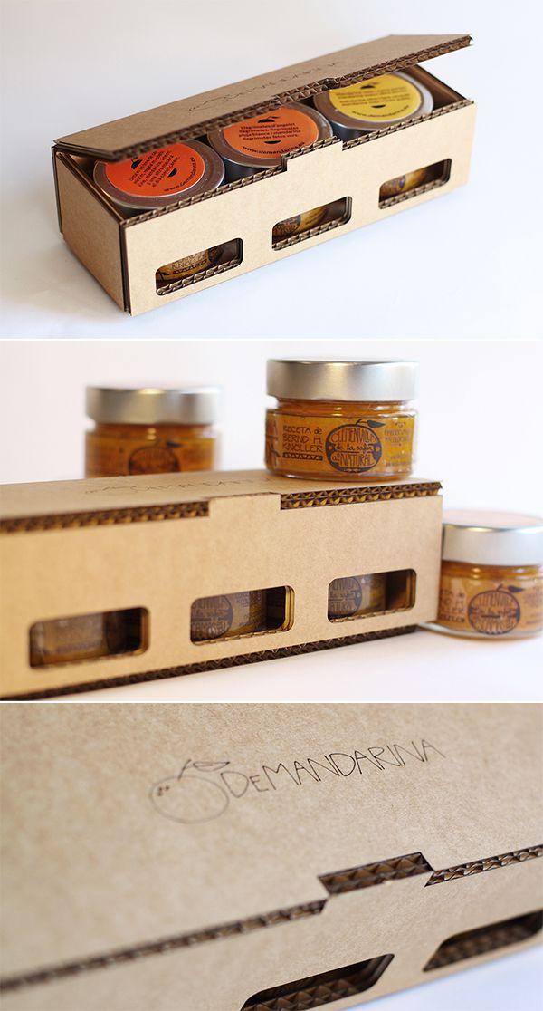 #Packaging para las ricas mermeladas artesanas de @demandarina https://www.facebook.com/DeMandarinaEu  #corrugated #cardboard