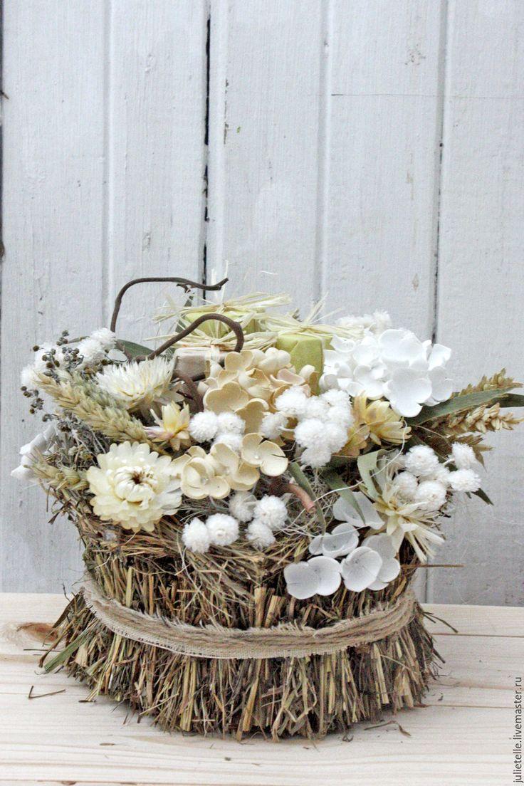 Купить Интерьерная композиция - бежевый, цветы для интерьера, украшение дома, декор дома, цветы, весна