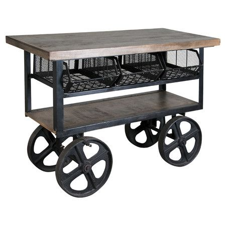 Showcasing a castered designs and interior storage compartments, this industrial-chic cart is the perfect addition to your home bar or game room.