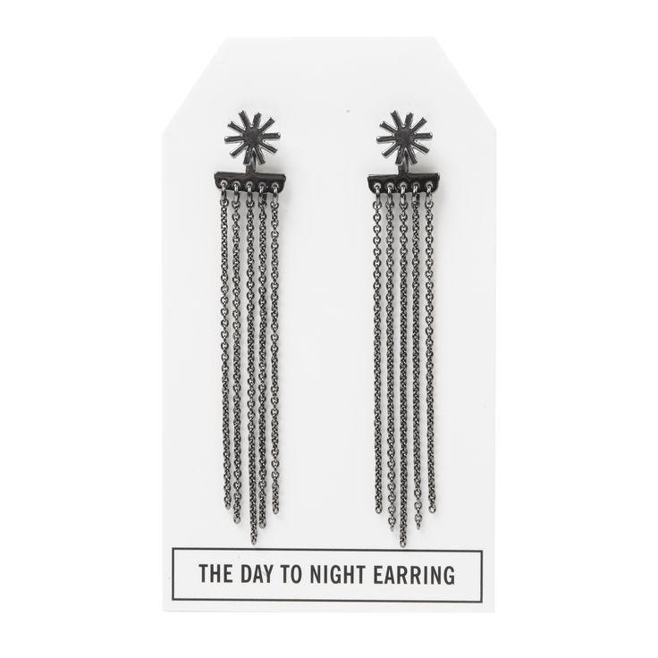 Twilight Day to Night Earring in Gunmetal - available in gold, silver, and gunmetal. $28. #gunmetalearrings #gunmetaljewelry #convertiblejewelry #fancyearrings #daytonight #daytonightearrings #jewelrygift