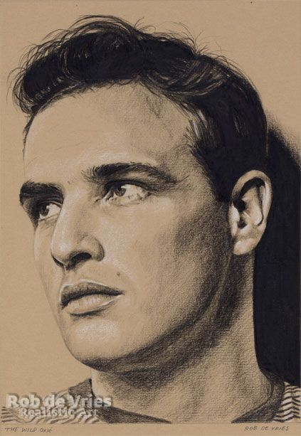 """July 2017, Marlon Brando. """"The Wild One"""",  Charcoal, ink and white chalk on colored paper.  21 x 15 cm."""