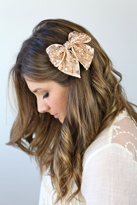 Sparkly Hair Bow simple perfection for your Destination FL or CA www.RomanticVows.com ceremony!