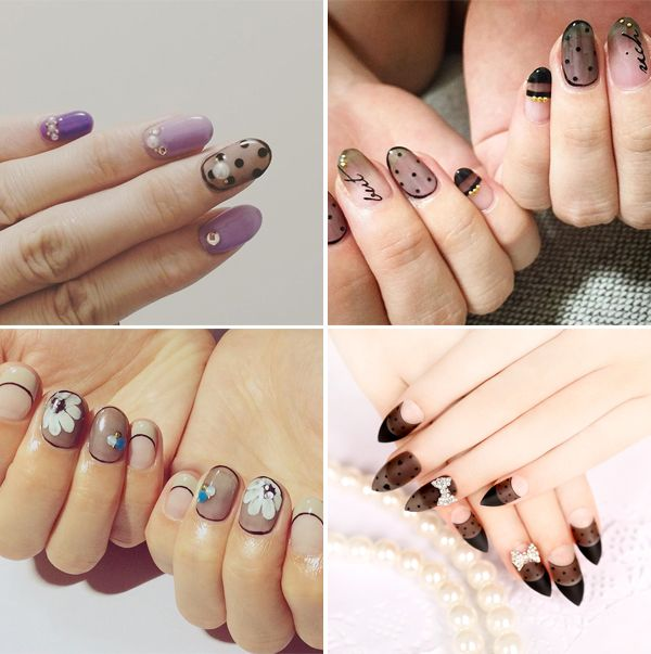 2015 Winter Bridal Nail Art Trends - Black See Through / Transparent