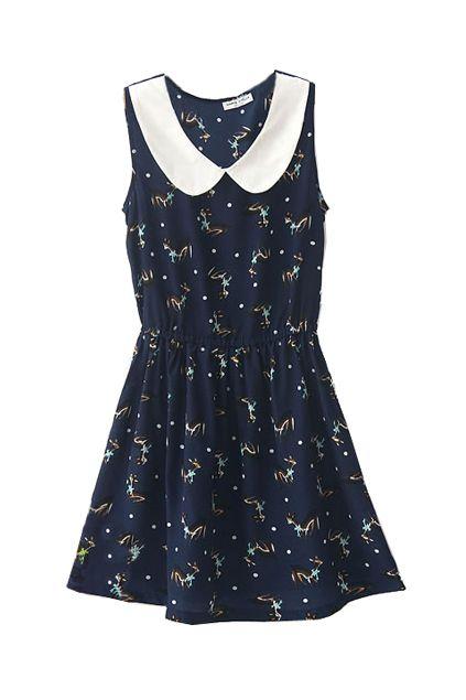 Deer Print Sleeveless Navy Blue Dress