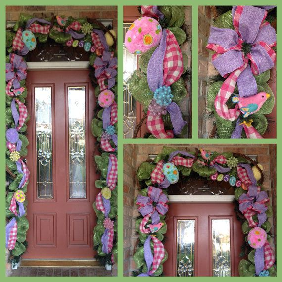 52 Vivacious Summer Porch Decor Ideas: Easter Garden Garland (18ft) On Etsy, $305.00