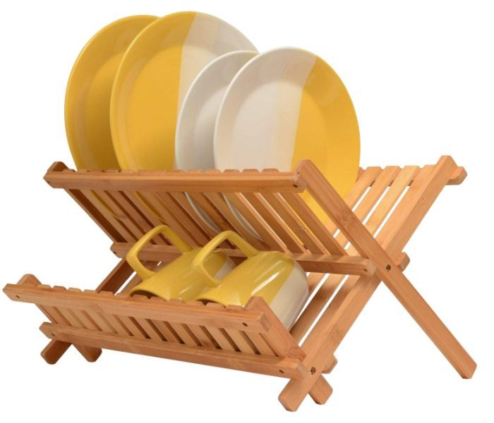 Bambusi Collapsible Dish Drying Rack Dish Racks Bamboo Dishes Wooden Plate Rack