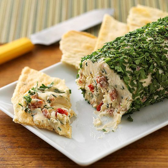 This make-ahead herb cheese ball, made with cream cheese, goat cheese, and fresh herbs, makes a great gift: http://www.bhg.com/recipes/party/appetizers/cheese-appetizer-recipes/?socsrc=bhgpin100814pepperedherbcheeseball&page=2