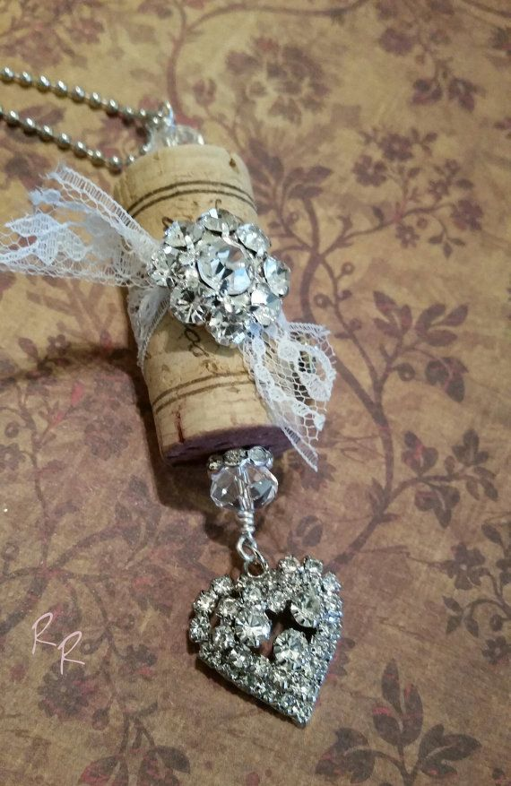 Upcycled Winecork Necklace Heart Valentine's by RepurposedRelicsTX #Bridesmaid gift #CraftShout