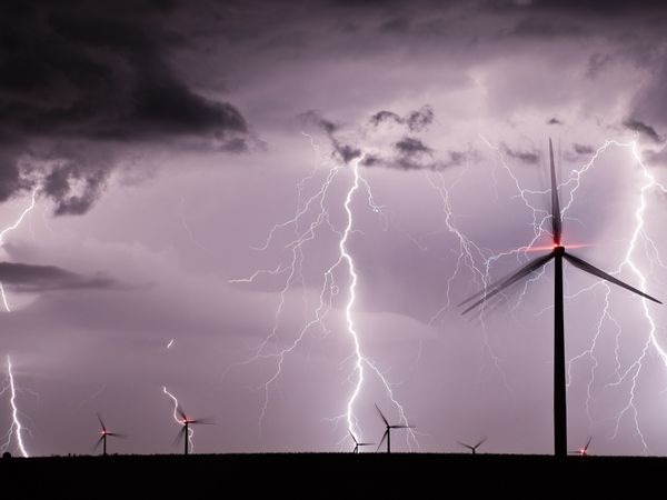 Thunderstorm over one of Iowa's wind farms.