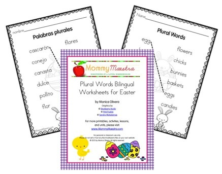Worksheets Bilingual Worksheets 1000 images about bilingual printables on pinterest spanish in mommy maestra easter themed freebie plural words worksheets printable