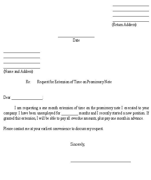 Sample Letter For Request For Extension Of Time On Promissory Note Template  Promisory Note Sample