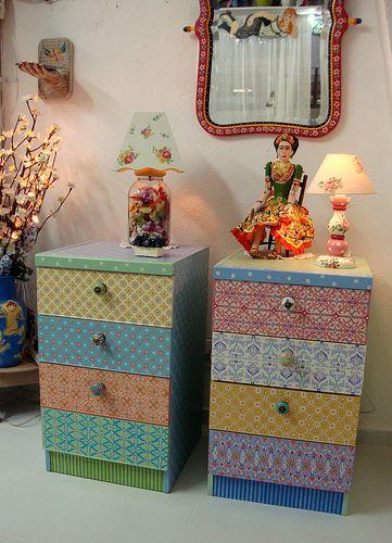 Móveis pintados no Atelier Odila Freire