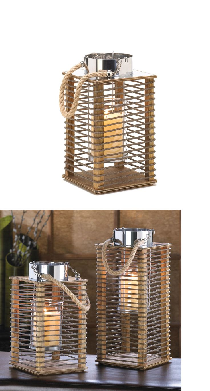 Outdoor D cor Candle Lanterns 183392: Hudson Small Mixed Materials Slatted Candle Lantern Indoor Outdoor Centerpiece -> BUY IT NOW ONLY: $37.25 on eBay!